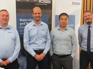 September speakers (L to R), Neil Gallon and Michael Young (of Rosen) with Aberdeen Branch chair Dr Yunnan Gao, and Mark Bragg, Technical Secretary of TWI North Scottish Branch.