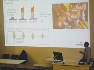Chris Burke of Emerson-Permasense, explaining sensor technology.
