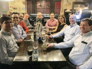 L to R: Dr. Muhammad Ejaz, Amir Attarchi, Hooman Takhtechian, Dr. Nigel Owen, Sarah Vasey, Dr. Yunnan Gao, Zahra Lotfi, Bryn Roberts and Stephen Tate of the Aberdeen Branch Committee.