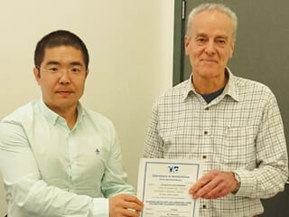 Branch Chair Dr. Yunnan Gao presents a Certificate of Appreciation to Presenter Dr Ed Wade of Metal Ecosse after the Event.